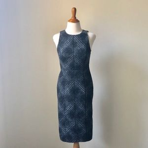 Fitted Tweed Midi Dress